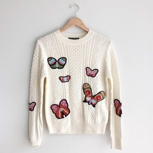 Central Park West Cream Butterfly Patch Sweater S
